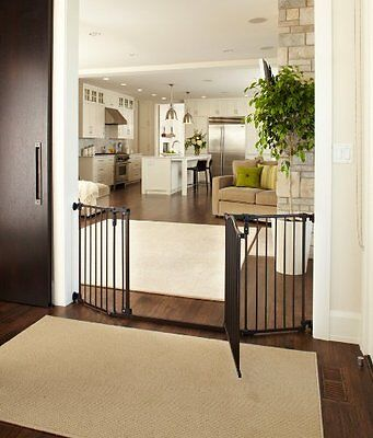 Baby Safety Gate w Door Extra Wide Metal Expandable Walk Thru Dog Fence Child