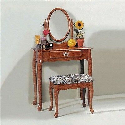 Oak or Cherry Queen Anne Vanity set with Table & Makeup Bench new