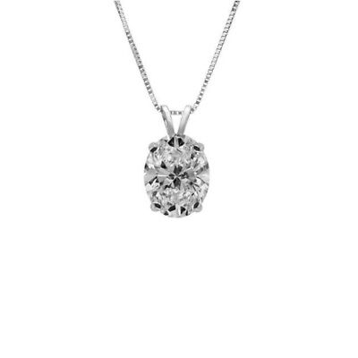 Oval Cut Necklace 1.0 CT 14k Solid White Gold Solitaire Pendant Nice Gift Women
