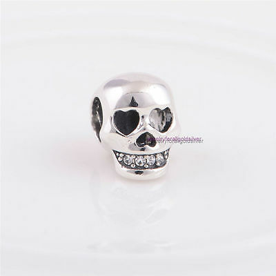 Sterling Silver 925 European Charm Love You To Death Skull Heart