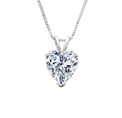 1.00 CT Heart Cut 14 k Solid White Gold Solitaire Pendant Necklace with Chain