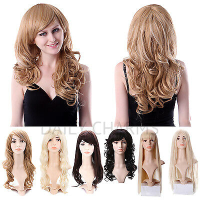 Fashion Women Girls Sexy Long Full Wavy Straight Hair Wigs Cosplay Costume Party