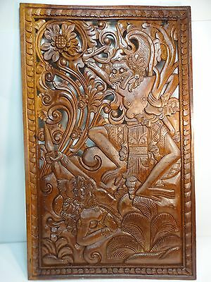 Indonesian Fighting Gods hand Carved  Brown wood  Plaque Relief Sculpture Tribal