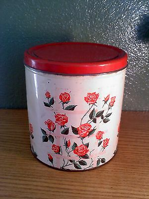 DecoWare Metal Red Rose Painted Canister w/Lid, vintage
