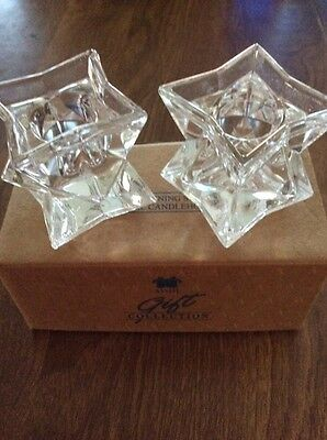 AVON GLISTENING STAR CRYSTAL CANDLEHOLDERS GIFT COLLECTION NEW IN BOX