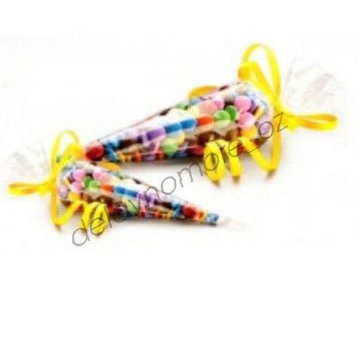 50 Clear Cello Cone Bags Lollies Party Favours Easter Egg Candy Treat Birthday