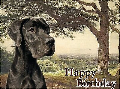 Great Dane Dog Design A6 Textured Birthday Card BDGTDANE-1-black by paws2print