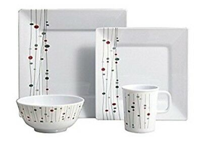 Flamefield 16 piece Linea square caravan boating camping melamine dinner set