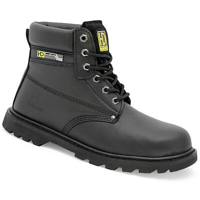 HEAVY DUTY Steel Toe Cap, Black Leather Safety Boots. Size 6 - 14. HD22-P