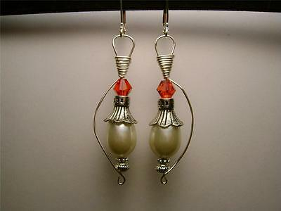 UNIQUE WHITE GLASS PEARL DROPS/RUBY CRYSTAL/SILVER ACCENT WIRE WRAPPED EARRINGS