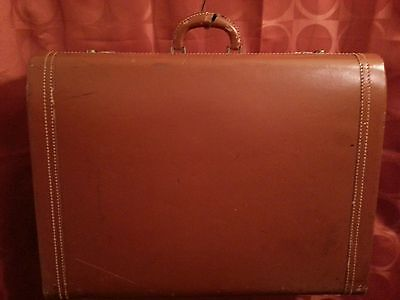 National Airlines 195O's Vintage Suitcase Luggage Brown 24x8x18 No Musty Odors!!