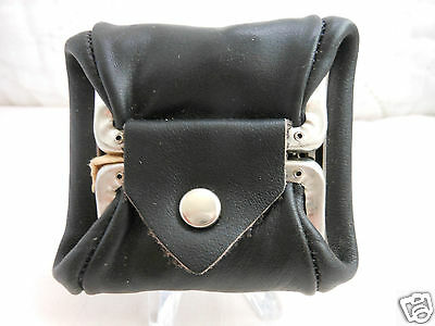 VINTAGE GENUINE  LEATHER BLACK COIN PURSE MADE IN HONG KONG