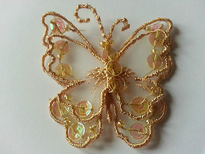 Gold Sew On Satin Sequin Butterfly Motif Applique 45 mm x 45 mm UK Seller