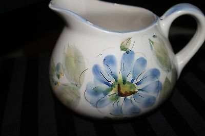 "Ceramic Pitcher Vintage Floral Hand Painted in Portugal 4.5"" White Blue"