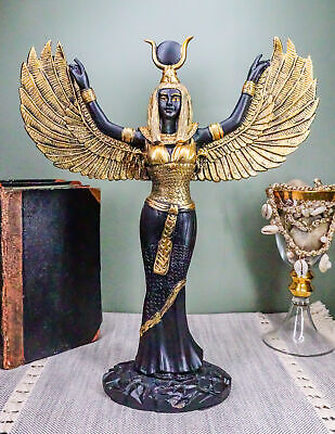 """Black and Gold Isis with Open Wings Ancient Egyptian Goddess Figurine 12""""H"""
