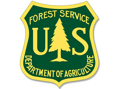 2.5x2.5 inch GREEN / YELLOW US Forest Service Shield Sticker -logo hike forestry
