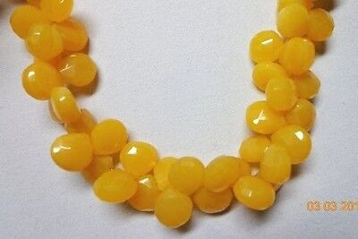 "RARE 8"" STRAND 10-11MM 42 PCS AAA MANGO CHALCEDONY FACETED HEART BRIOLETTE"