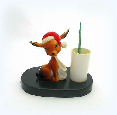 Vintage Toothpick Holder Celluloid Christmas Deer with Santa Hat