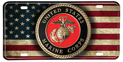 United States Marine Coprs Distressed American Flag Aluminum License Plate