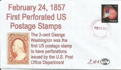 24 Feb 1857 Washington 3¢ 1st Issue US Perforated Postage Stamp #4 of 5 Cover