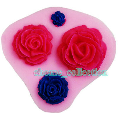 Silicone Mold 3D 4PCS Rose Flower Shapes Cake Icing Decor Fondant Chocolate DIY