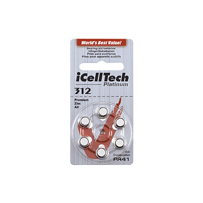 ICELLTECH Hearing Aid Batteries Size 312 (60 QTY) Mercury Free 1.45v Exp 2021