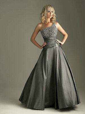 Charcoal Beaded One-shoulder Evening/Formal/Ballgown/Clubwear/Party/Prom Dress