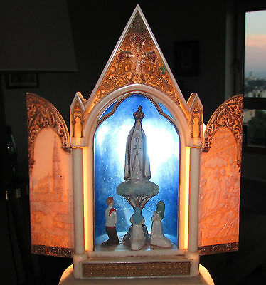 Old Vtg SHRINE altar OUR LADY of FATIMA open doors Apparition Shepherds embossed
