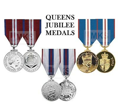 Official Queens Jubilee Miniature Medals with Ribbon Silver Golden Diamond QDJM
