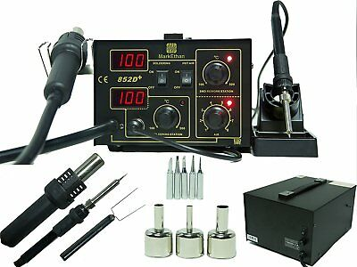 2in1  Soldering Station Rework Hot Air & Iron 852D+ 5 Tips SMD  2 in 1 Heat