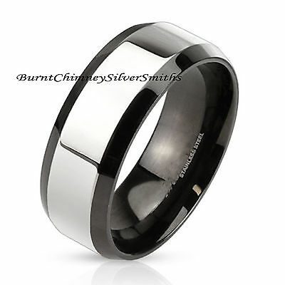 Custom engraved Beveled Edge Two Tone Stainless Steel XXL Band 8mm Ring