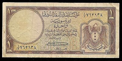 Syria Syrie Syrian Banknote 1 Livre 1950'S 1957 P-73 aVF Falcon Rare First Issue