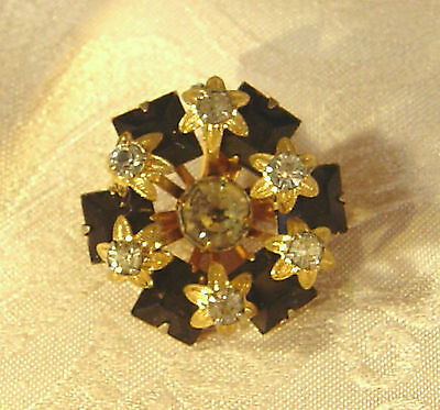 Victorian Antique Gold tone Jet and Paste Collar Pin
