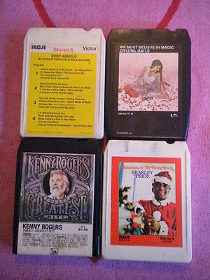 Lot of 4 COUNTRY 8-TRACKS Kenny Rogers/Eddy Arnold/Charley Pride/Crystal Gayle