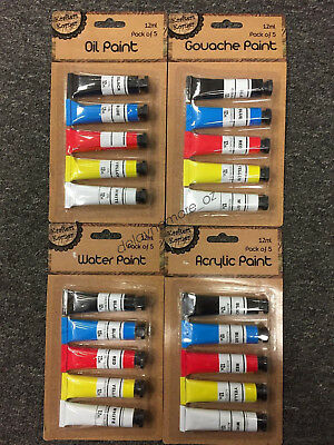 5 TUBES ACRYLIC OIL WATER GOUACHE PAINT PAINTING COLOUR DRAWING 12ml ART ARTIST