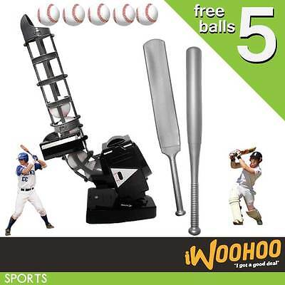 Kid Children Cricket Baseball Bowling Machine Free 5 Foam Balls Backyard Game AU