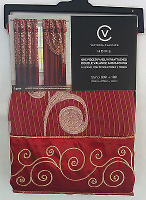 6 Pcs Victorian Sytle Curtain Set 2 Panels Attached Valance & Backing BURGUNDY