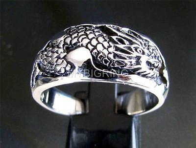 WEDDING STERLING SILVER BAND RING DRAGON SNAKE SLAYER MEDIEVAL ANTIQUED ANY SIZE