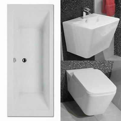 Bathroom Suite Bath Tub Hung Toilet Basin Sink WC Close Coupled Three Piece Set