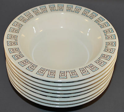 Taylor Smith & Taylor Taylorstone Forum 8 Soup Bowls Blue and White 7 1/2 Inch