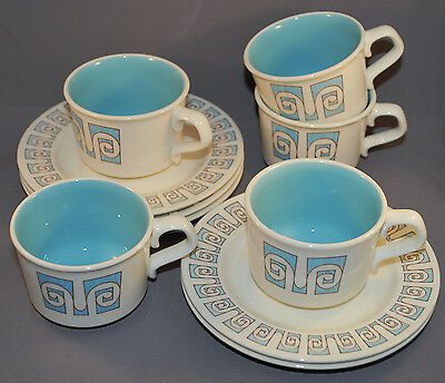 Taylor Smith & Taylor Taylorstone Forum 5 Cup and Saucer Set Blue and White