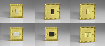 Georgian Brass Plated Classic Intermediate Light Switches - Gang & Switch Option