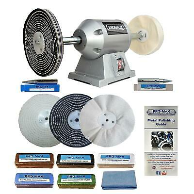 "Pro-Max 6"" 200W Bench Grinder And Metal Polishing Buffing Kit Machine."
