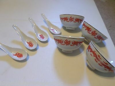 SET OF 4 RARE RED & ORANGE DRAGONS ON WHITE RICE BOWLS AND SCOOPS SPOONS
