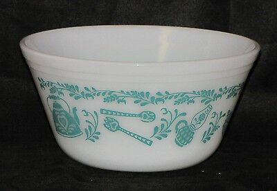Vintage Federal USA White Milk Glass Pattern American Homestead Mixing Bowl