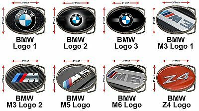 "BMW M3 M5 M6 Series Z3 Z4 E60 E90 X5 X6 Car Logo 3x2"" Chrome Belt Buckle Gift"