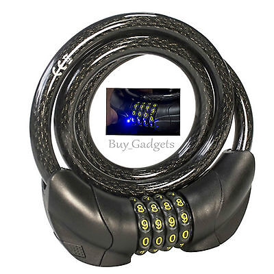 Led Combination Bike Cable Lock Bicycle Heavy Duty Thick Cycle Bike Security