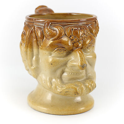 19th Century British Stoneware Satyr Head Mug, Hand Painted, ocher on tan glaze