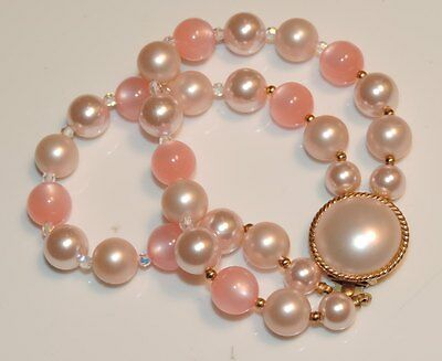 Vintage Pink Themoset Lucite Moon Glow Crystal Pearl Double Strand Bracelet v 71