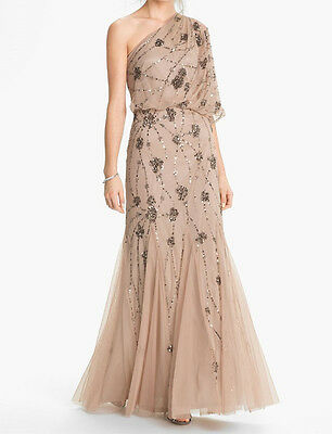 Adrianna Papell Beaded One Shoulder Gown SZ 8